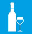 glass and bottle of wine icon white vector image