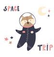 happy astronaut raccoon in a spacesuit and helmet vector image