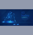 hockey player on ice with stick shot puck vector image vector image