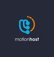 letter m motion logo template on dark background vector image vector image