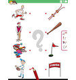 match sports and objects educational game for kids vector image