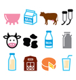 Milk cheese production cow icons set vector image