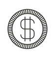 monochrome silhouette of coin with money symbol vector image vector image