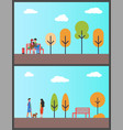 people walking dog couple working in autumn park vector image vector image
