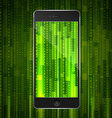 phone with matrix background vector image vector image