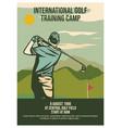 poster design international golf training camp 8 vector image vector image
