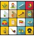 Rastafarian icons set flat style vector image vector image