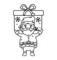 santa carrying big gift celebration merry vector image