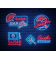 set logos signs in neon style on sushi vector image vector image