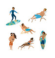 set women and men wearing bathing shorts and vector image