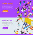 sport people in gym healthy life concept banner vector image vector image
