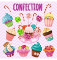 Sweet blast set candy cakes lollipops vector image vector image