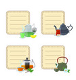 tea kettles and cups stickers vector image vector image
