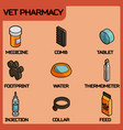 vet pharmacy color outline isometric icons vector image