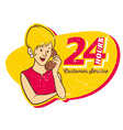 vintage style woman on phone vector image