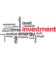 word cloud investment vector image
