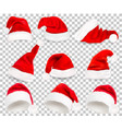 collection of red santa hats on transparent vector image