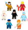 set of men with the eyes of a policeman fireman vector image