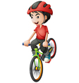 A boy riding his bike vector image vector image