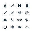 beauty glamour icons set vector image