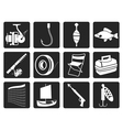 Black Fishing and holiday icons vector image
