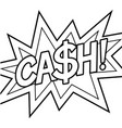 cash word comic book coloring vector image vector image