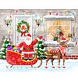 christmas door decoration vector image vector image