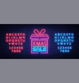 christmas sale discounts card postcard in neon vector image vector image