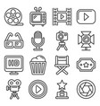cinema and movie icons set on white background vector image vector image