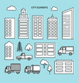 city elements set in thin line style vector image