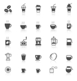 Coffee icons with reflect on white background vector image vector image