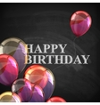 colorful poster with balloons and chalk letters on vector image