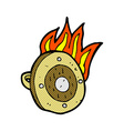 comic cartoon burning shield vector image vector image