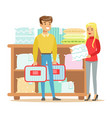 couple buying bedsheets for bedroom smiling vector image vector image
