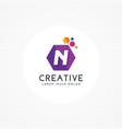 creative hexagonal letter n logo vector image