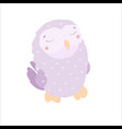 cute kawaii owl violet in flat style childrens vector image vector image