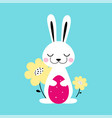 cute little bunny holding decorated egg and spring vector image vector image