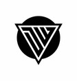 dw logo with negative space triangle and circle vector image vector image