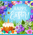 easter holiday eggs and cake with flower frame vector image vector image