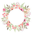 flowers frame circle roses card on white backdrop vector image vector image