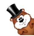 Groundhog Day greeting card with cheerful marmot vector image