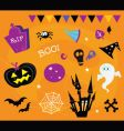 Halloween icons and design elements vector image vector image