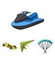 hang glider parachute racing car water scooter vector image