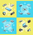 isometric gadgets icons infographic concept vector image vector image