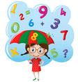 little girl with number rain vector image