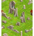 Medieval buildings on green grass isometric vector image vector image