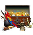 old pirate chest with parrot vector image vector image