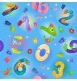 Pattern from numbers like birds in fairy style vector image vector image