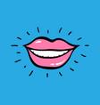 pop art red lips with text ha ha ha vector image