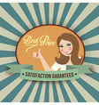 retro illlustration with a woman and best price vector image